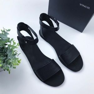 VINCE  Sawyer Leather Ankle-Wrap Sandal, Black
